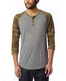 Men's Basic Printed 3/4 Sleeve Raglan Henley Shirt