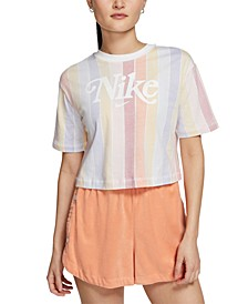 Women's Cotton Striped Cropped Top