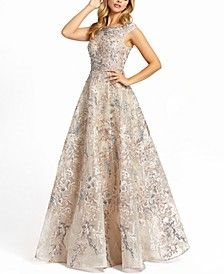 Embroidered Embellished Boat-Neck A-Line Gown