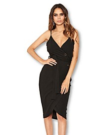 Button Front Detail Bodycon Midi Dress