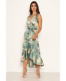 Women's Duck Egg Floral Satin Wrap Frill Dress