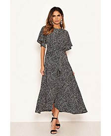 Women's Polka Dot Wrap Frill Midi Dress