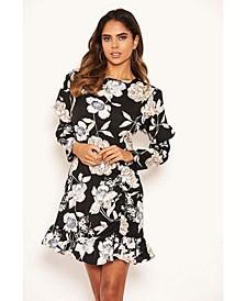 Women's Floral Print Long Puff Sleeve Dress