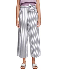Canvas Striped Wide-Leg Pants