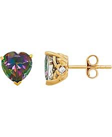 Mystic Topaz (4 ct. t.w.) & Cubic Zirconia Heart Stud Earrings in 14k Gold-Plated Sterling Silver