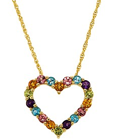 "Multi-Gemstone Heart 18"" Pendant Necklace (1-1/5 ct. t.w.) in 14k Gold-Plated Sterling Silver"