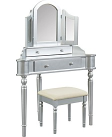Cristal Two-Drawer Vanity Set, Silver Finish