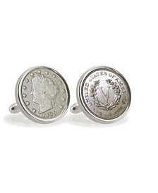 1800's Liberty Nickel Sterling Silver Coin Cuff Links