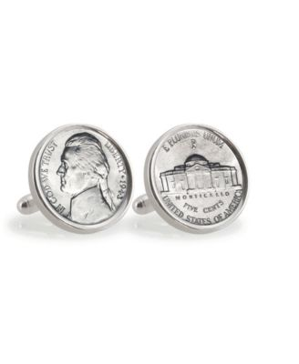 American Coin Treasures Gold-Layered Silver Jefferson Nickel Wartime Nickel Sterling Silver Cuff Links