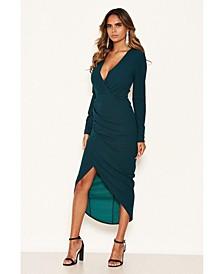 Women's Wrap Front Midi Dress