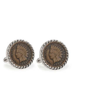 1800's Indian Head Penny Rope Bezel Coin Cuff Links