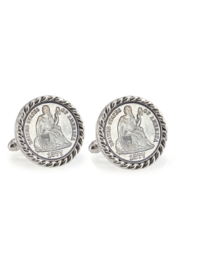 Seated Liberty Silver Dime Rope Bezel Coin Cuff Links