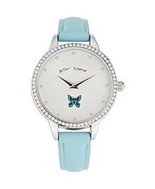 Women's Floral Pattern Dial Light Blue Polyurethane Strap Watch 39mm