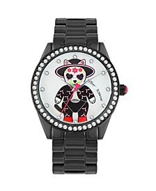 Women's Festive Kitty Motif Black Bracelet Watch 40mm