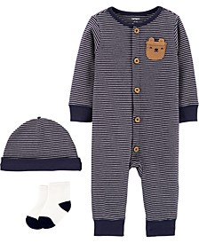 Baby Boys 3-Pc. Striped Cotton Coverall, Hats & Socks Set