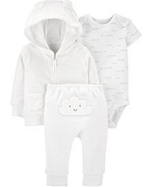 Baby Boys or Girls 3-Pc. Printed Bodysuit, Bear Hoodie & Pants Set