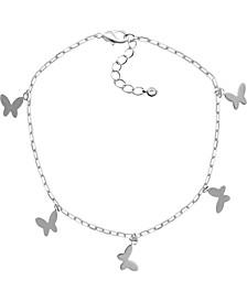 Butterfly Charm Ankle Bracelet in Fine Silver-Plate