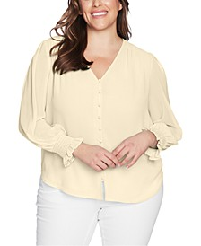 Plus Size Sheer Long-Sleeve Top