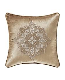 "Sandstone 18"" Square Embellished Decorative Pillow"
