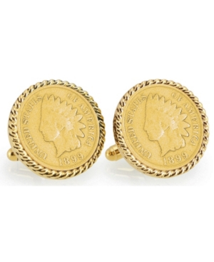 Gold-Layered 1800's Indian Head Penny Rope Bezel Coin Cuff Links
