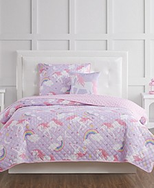 Rainbow Unicorn Full 4 Piece Quilt Set