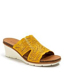 Barb Laser Cut Slip-on Wedge Sandals