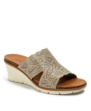 Barb Laser Cut Slip-on Wedge Sandals Women's Shoes