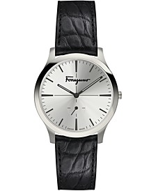 Men's Swiss Slim Formal Black Leather Strap Watch 40mm