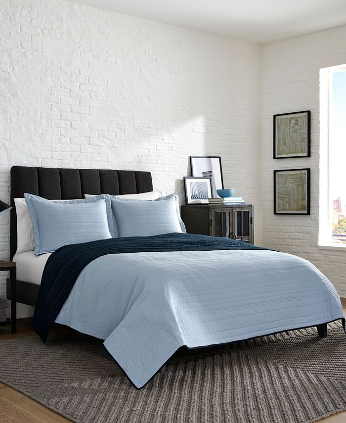 Kenneth Cole Reaction - Irregular Channel Stitch Reversible Twin Quilt Set