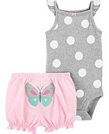 Baby Girls 2-Pc. Polka Dot Bodysuit & Butterfly Shorts Set