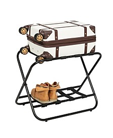 Collapsible Black X-Frame Luggage Rack