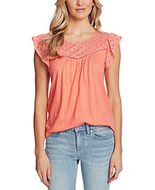 Eyelet-Trim Flutter-Sleeve Top