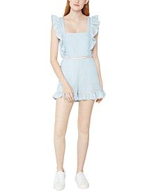 Cotton Square-Neck Ruffle-Sleeve Woven Romper