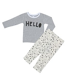 Baby Boys and Girls Bamboo Long Sleeve 2 Piece Hello Pajamas Set