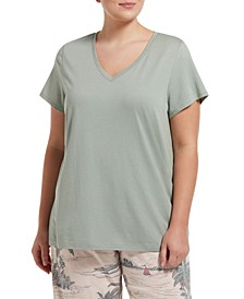 Plus Size Short Sleeve V-Neck Tee