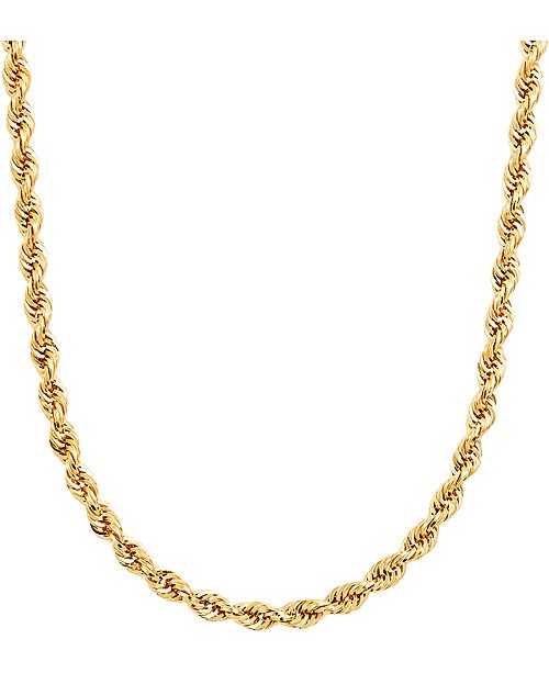 Italian Gold Men S Glitter Rope 24 Chain Necklace 4 5mm In 14k Gold Reviews Necklaces Jewelry Watches Macy S
