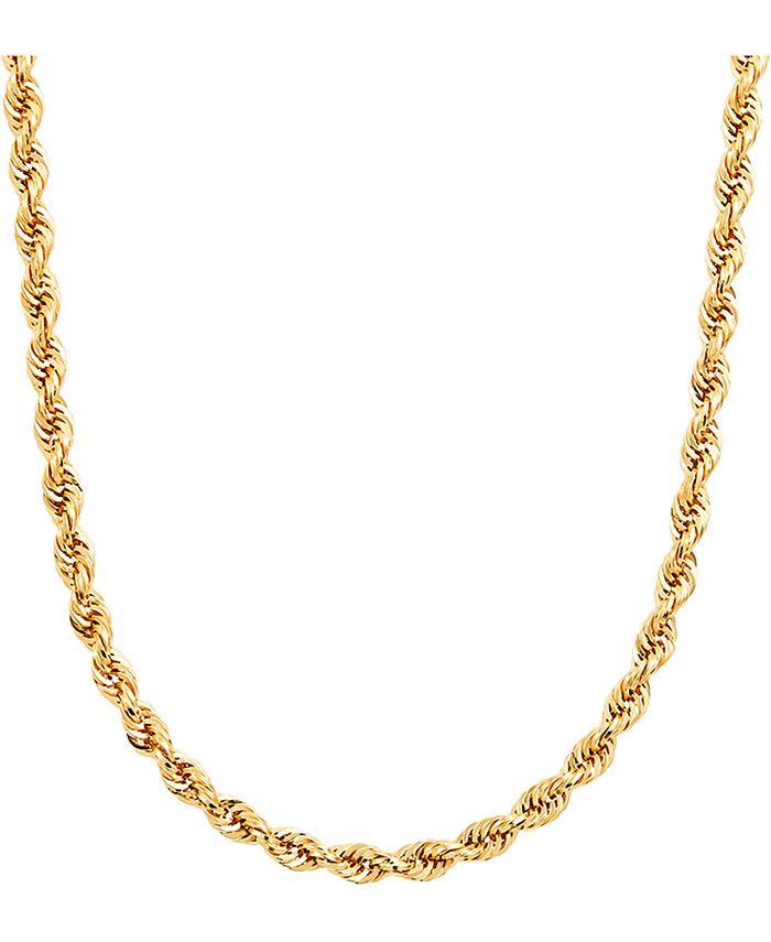 "Italian Gold - Men's Glitter Rope 24"" Chain Necklace in 14k Gold"