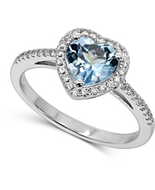 Aquamarine (1 ct. t.w.) & Diamond (1/5 ct. t.w.) Heart Ring in 14k White Gold