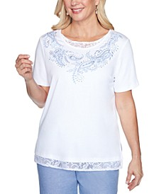 Petite Bella Vista Lace-Inset Embroidered Top
