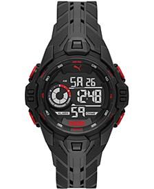 Men's Bold Black Silicone Strap Watch 45mm