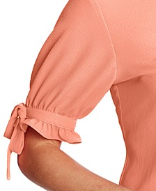 Tie-Sleeve Button-Front Top