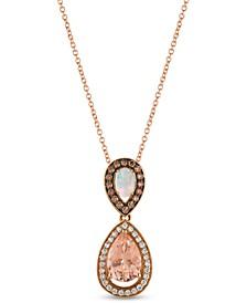 "Chocolatier® Multi-Gemstone (1-5/8 ct. t.w.) & Diamond (3/8 ct. t.w.) 18"" Pendant Necklace in 14k Rose Gold"