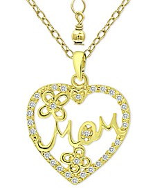 "Cubic Zirconia ""Mom"" Heart Pendant Necklace in 18k Gold-Plated Sterling Silver, 16"" + 2"" extender, Created for Macy's"
