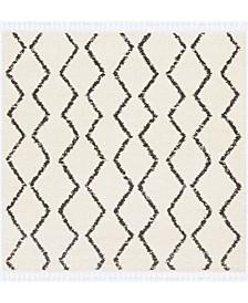 "Berber Shag BBE-2303 Charcoal 7'10"" x 7'10"" Square Area Rug"