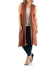 Women's Plus Size Long Cardigan Vest