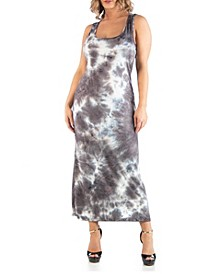 Women's Plus Size Sleeveless Tie Dye Racerback Maxi Dress