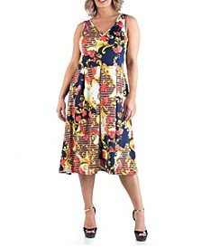 Women's Plus Size Paisley Midi Dress