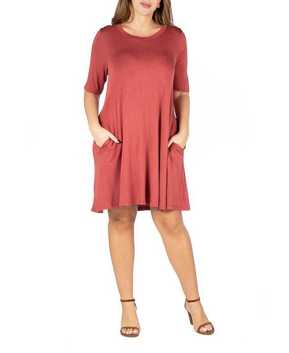 24seven Comfort Apparel Women's Plus Size Pocket T-shirt Dress