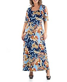 Women's Plus Size Open Shoulder Paisley Maxi Dress
