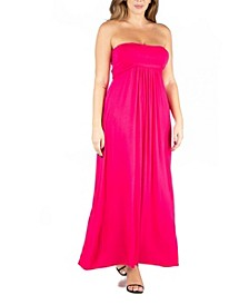 Women's Plus Size Belted Empire Waist Maxi Dress